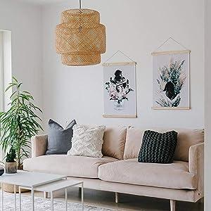 Arturest Bamboo Pendant Light, Home Decor Lampshade, Handmade Weave Lighting, Creative Craft Lights-(50cm50cm)