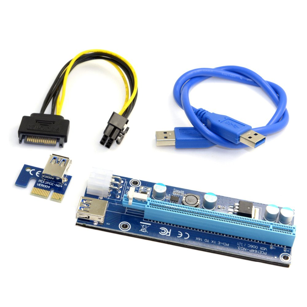 PCI-E 1x to 16x Mining Machine Extender Riser Adapter USB 3.0 /& 6Pin Power Cable