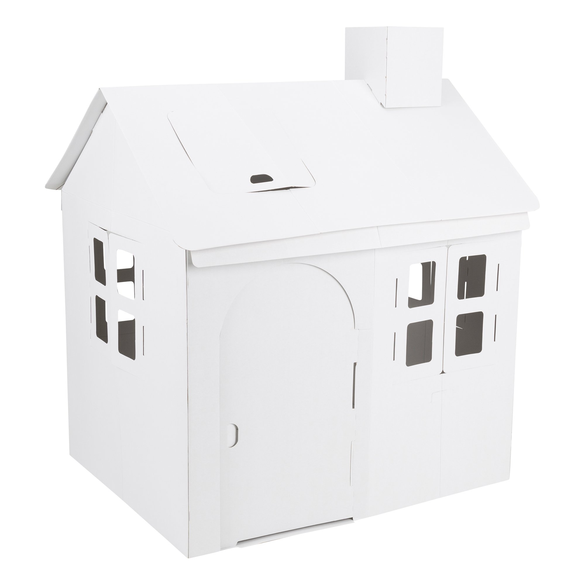 Fat Catalog ALT-ERU1007-SO Cardboard Coloring Craft, Kid-Sized Playhouse, White/Black