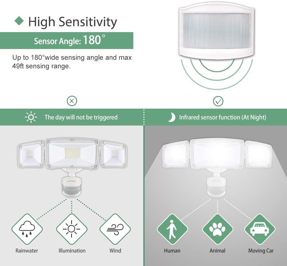 3 Adjustable Head Flood Security Light for Yard Pathway /& Patio GLORIOUS-LITE 39W LED Security Light 5500K IP65 Waterproof /& ETL Certification 3500LM Motion Sensor Light Outdoor