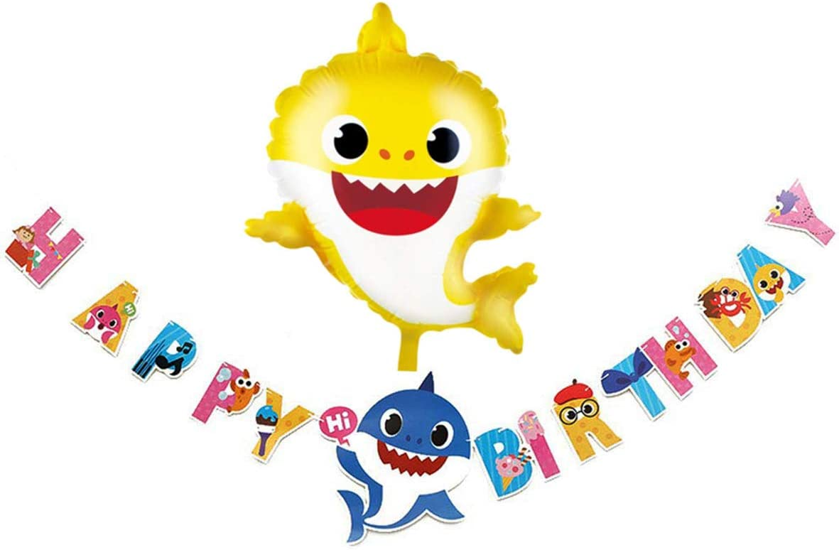 Cut Baby Little Shark Happy Birthday Banner and Balloon Party Supplies For Baby Kids and Adults,Shark Birthday Party Decorations Party supplies and Baby Shower