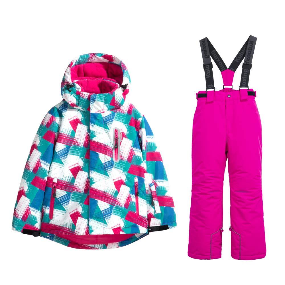 GS SNOWING Girls Waterproof Windproof Snow Jacket Insulated Ski Jacket Pants Snowsuit GSOU SNOWING