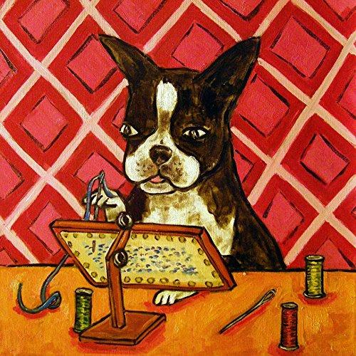Gifts Needlepoint (Boston Terrier needlepoint decor dog art tile coaster gift)