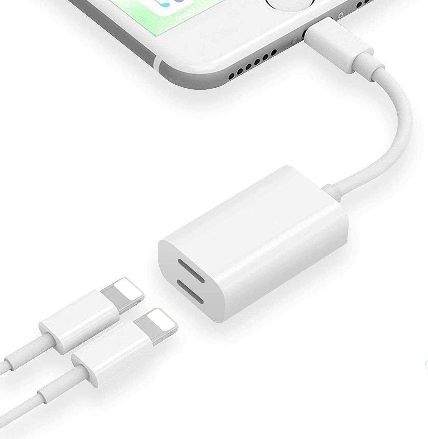 [Apple MFi Certified] iPhone Headphones Adapter & Splitter, 2 in 1 Dual Lightning Headphone Jack Audio & Charge Adapter Compatible for iPhone 12/11/XS/XR/X/8 7, Support Call+Charge+Sync+Volume Control