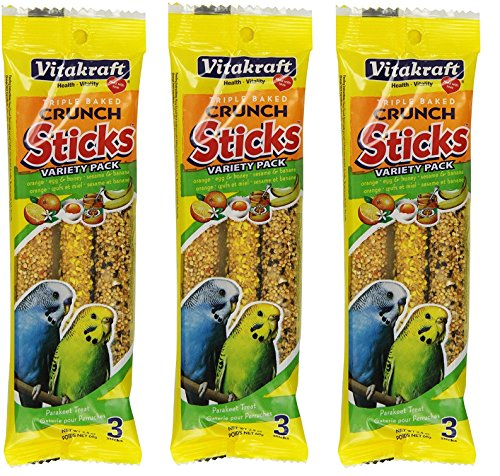 VitaKraft Kracker Crunch Treat Sticks Variety Pack for Parakeets - 3 PACK by Vitakraft
