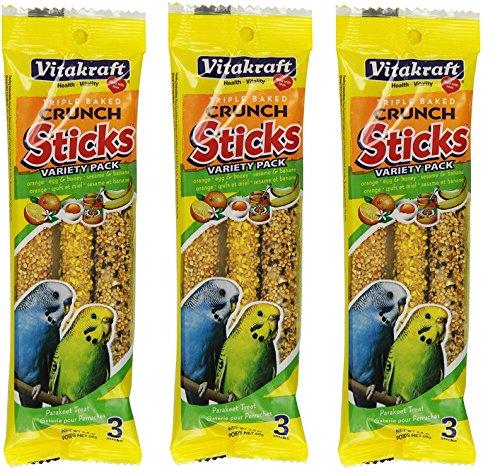 VitaKraft Kracker Crunch Treat Sticks Variety Pack for Parakeets - 3 PACK (Parakeet Orange Sticks)