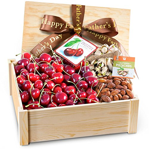 Happy Father's Day Gift Crate With Fresh Cherries and Nuts