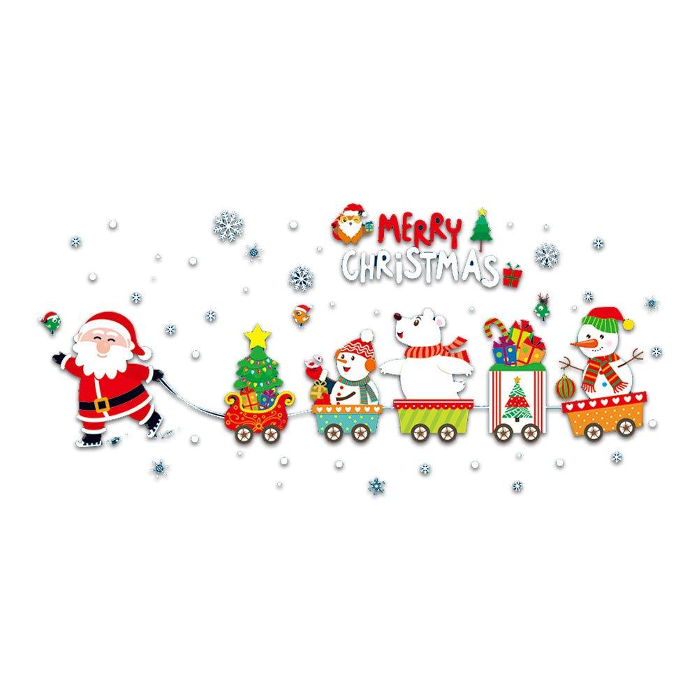 Ruiting Navidad de Santa Claus y la Etiqueta de la Pared del Papel de empapelar de Tren de la Pared del Vinilo extraíbles de Creative Arte para el Dormitorio, Sala de Estar, habitación de los niños