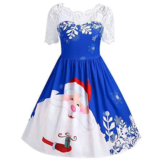 fd27409c3d Christmas Swing Dress Women Lace Stitching Hollow Printing Vintage Gown  Evening Party Dress ANJUNIE(Blue1