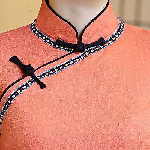 Veste Traditionnel Top Orange Manche de Tang ACVIP Femme Blouse Chinois Style avec Longue PqAnw5RH