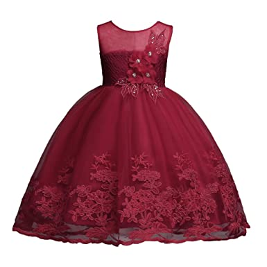aa92631f2878 Amazon.com  1-12 Years Girls Dress Sequin Lace Wedding Party Flower ...