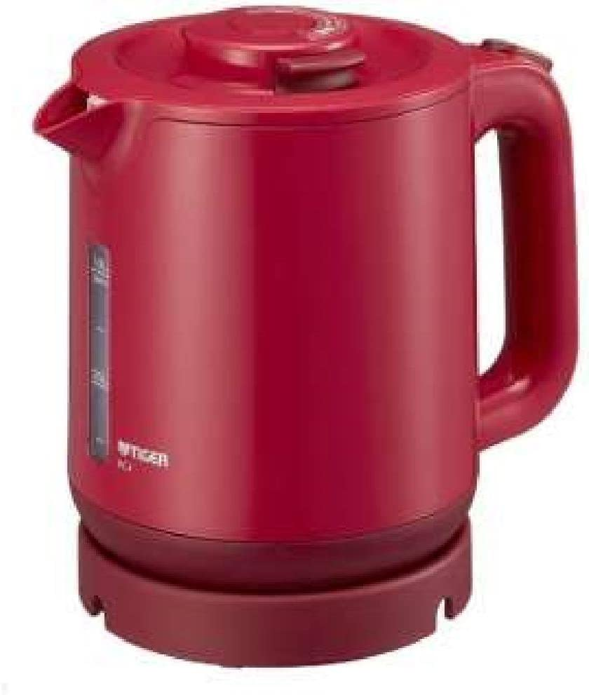 """TIGER Steam-Less Electric Kettle (1.0L)""""WAKUKO"""" PCJ-A101-R (Red)【Japan Domestic genuine products】"""