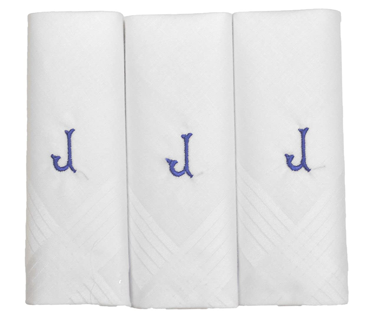 Mens/Gentlemens 3 Pack Plain White Handkerchiefs With 1 Letter Name Initials, J
