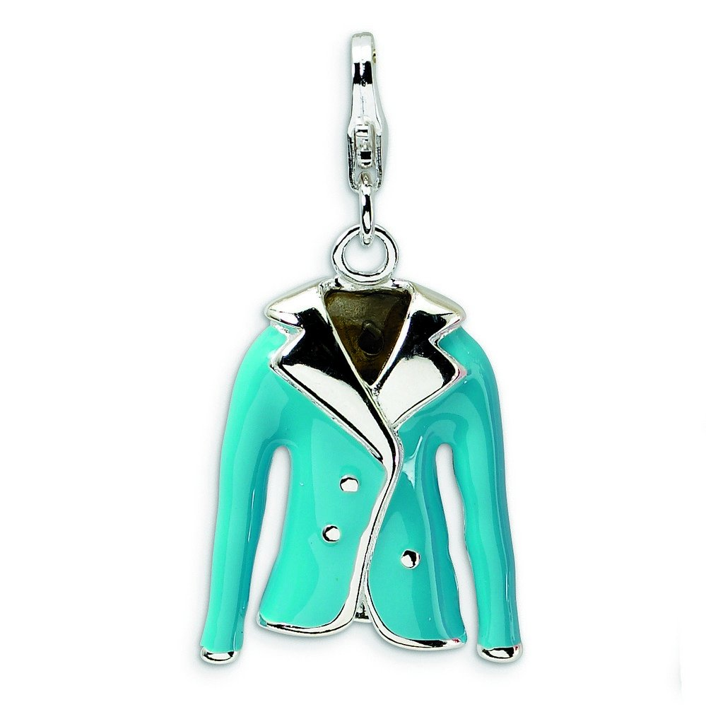 Sterling Silver Polished Rhodium-plated Fancy Lobster Closure 3-D Enameled Blue Jacket With Lobster Clasp Charm - Measures 31x16mm