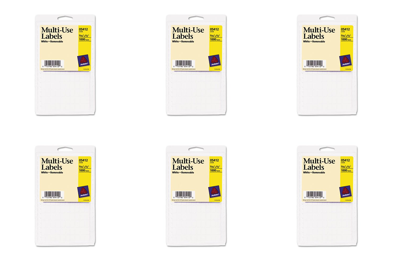 Avery Removable Rectangular Labels, 0.31 x 0.5 Inches, White, Pack of 1100 (5412), 6 Packs