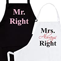 U-HOOME Kitchen Cooking Aprons for Couples Mr Right Mrs Always Right Funny Cooking Apron Engagement Gifts