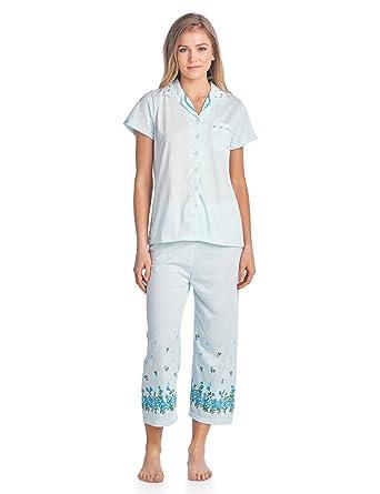 0471524b5f2 Casual Nights Lace Trim Women's Short Sleeve Capri Pajama Set - Dot Green -  Medium