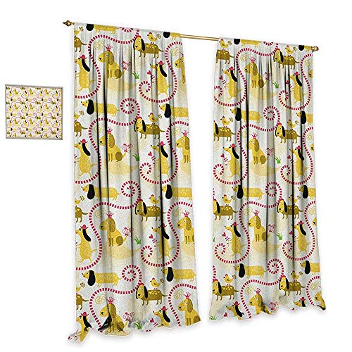 Dog Room Darkening Wide Curtains Abstract Beagle Breed Design with Geometric Shapes Hearts Swirls and Short Lines Love Customized Curtains W72 x L96 Multicolor