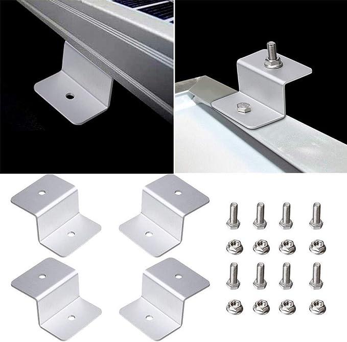 Taille Unique Blanc Support en Forme de Z pour Panneau Solaire en Aluminium Inoxydable pour Camping-Car