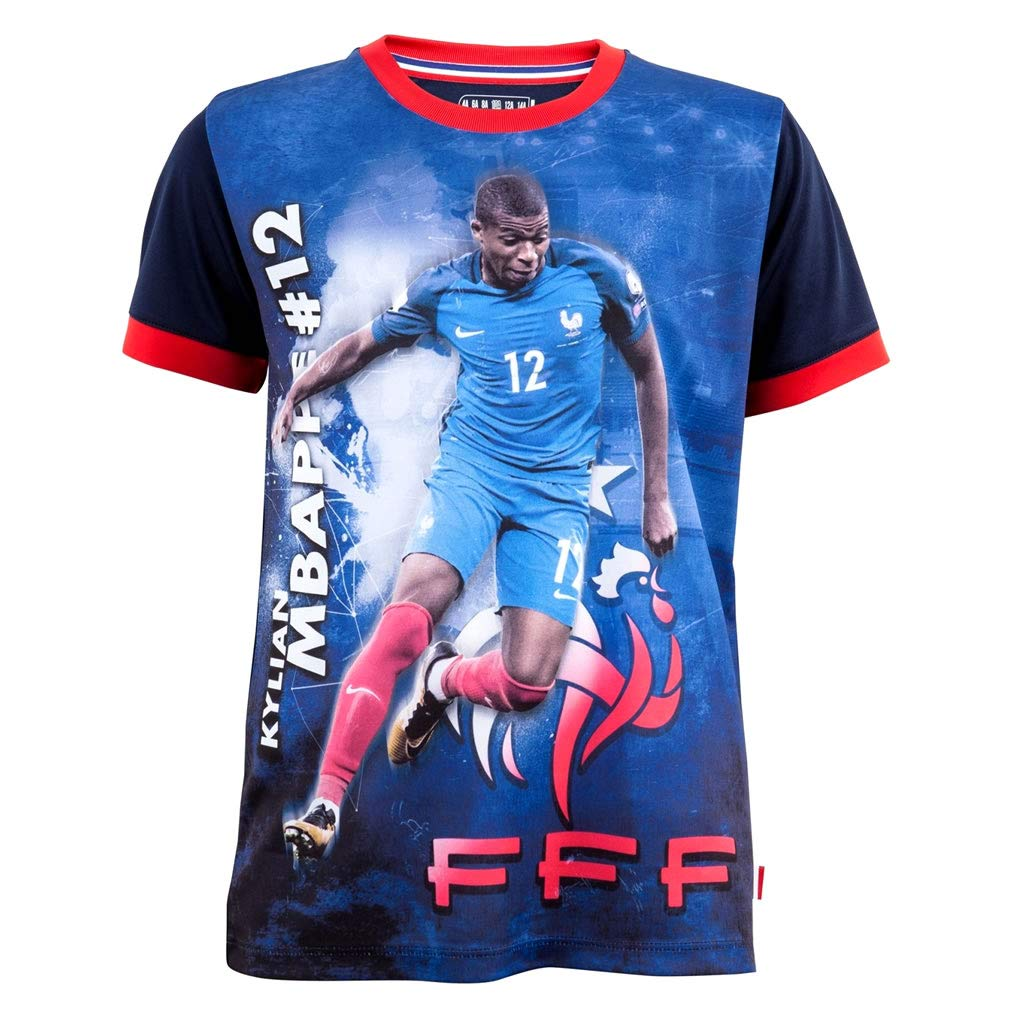 FFF - Official FFF 'Mbappé' Kids Soccer Jersey - Blue Shirts and T-Shirts of France