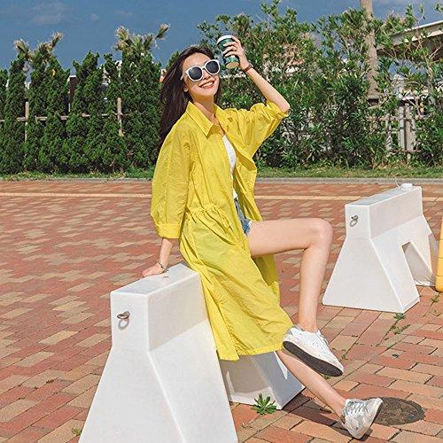 QFFL fangshaifu 膝の緩い女性日保護服/夏ファッションピュアカラーロングスリーブシャツショール/薄い抗UVエアーシャツの上の長いセクション (色 : イエロー いえろ゜, サイズ さいず : M)