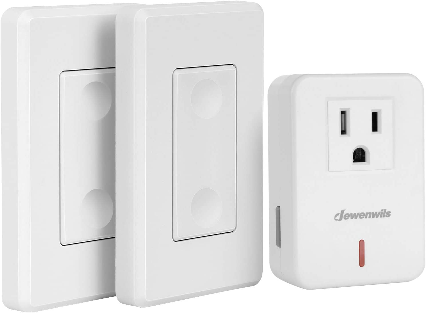 Dewenwils Wireless Remote Wall Switch And Outlet Plug In Remote Control Light Switch No Wiring Expandable 100 Ft Rf Range Etl Listed 2 Switches And 1 Receiver Amazon Com
