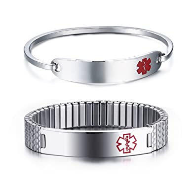 Custom Made two conditions Medical Alert Stainless Steel Bracelet CCYid9nPr