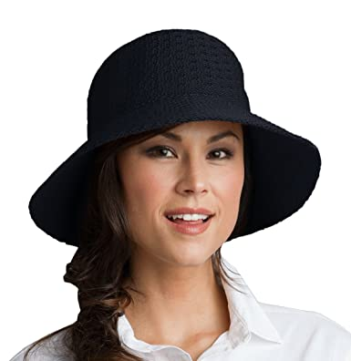 3b472e1c708f6 Coolibar UPF 50+ Women s Marina Sun Hat - Sun Protective (One Size- Black