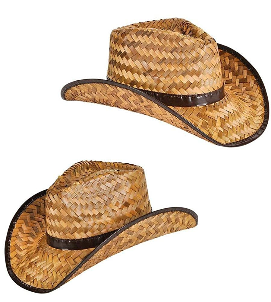 61371696010ea Amazon.com  New Men s Women s Stained Brown Woven Straw Cowboy Hat (2  pack)  Clothing