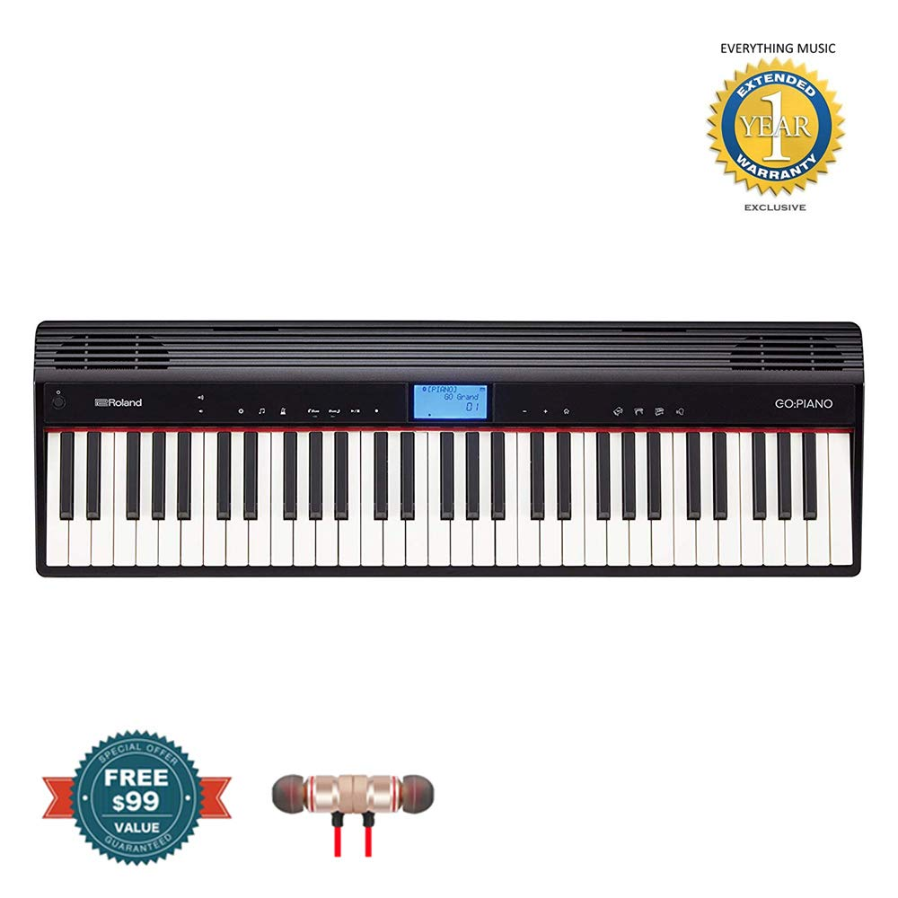 Roland GO-61PC GO:PIANO Digital Piano includes Free Wireless Earbuds - Stereo Bluetooth In-ear and 1 Year Everything Music Extended Warranty