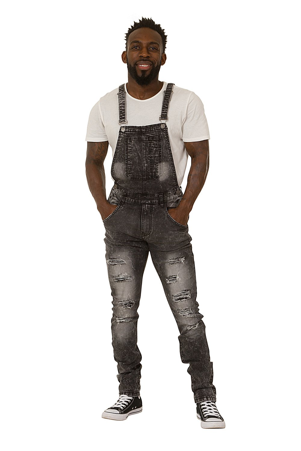 Men's Bib Down Overalls – Washed Black Denim Slim Fit Destroyed Denim Detachable Highness