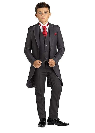 ef7859d43645 Amazon.com  yeoyaw Formal Boys Black Classic Tuxedo Dress Suits Set Jacket Vest  Pants Wedding Party Ceremony  Clothing