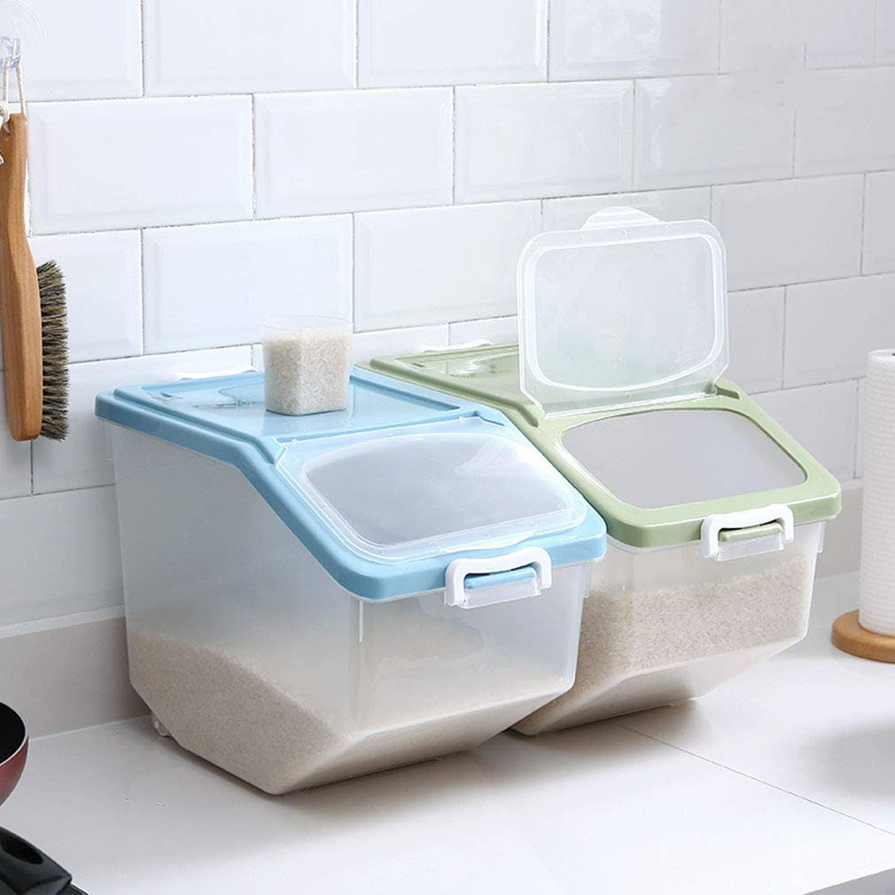 Size : 34.5 * 23.8 * 27.6cm Plastic Airtight Rice Bucket 10KG 15KG 25KG Cereal Storage Container Kitchen Storage Box