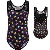 Emoji Outfits for Kids BAOHULU Kids Gymnastics Leotard Girls Shiny Fancy Print Athletic Dancewear 3-12Y B172_BlackEmoji_8A