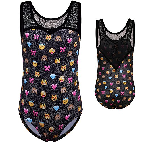 BAOHULU Girls's One Piece Sparkle Gymnastics Tank Leotards--Sparkle Galaxy Butterfly Pumpkin Print Cosplay Costumes Halloween Clothes (Tag.No 10A (recommended age 9-10 Years), BlackEmoji) (Dance Halloween Pumpkin)