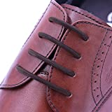 INMAKER No Tie Shoelaces for Dress Shoes, Elastic Oxford Shoelaces for Adults and Youth (Brown)