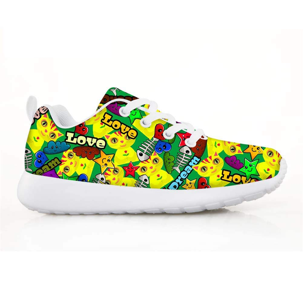 Boys Girls Casual Lace-up Sneakers Running Shoes Kitten Cat Dream Fish Bones