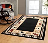 RUGS HOME Furnish my place Wildlife Bear Moose Rustic, Cabin Lodge Carpet Area Rug, Black