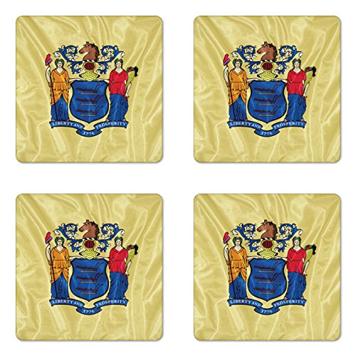 Lunarable American Coaster Set of Four, New Jersey Flag Three Plows Horse's Head Two Women Liberty and Agriculture, Square Hardboard Gloss Coasters for Drinks, Yellow Multicolor