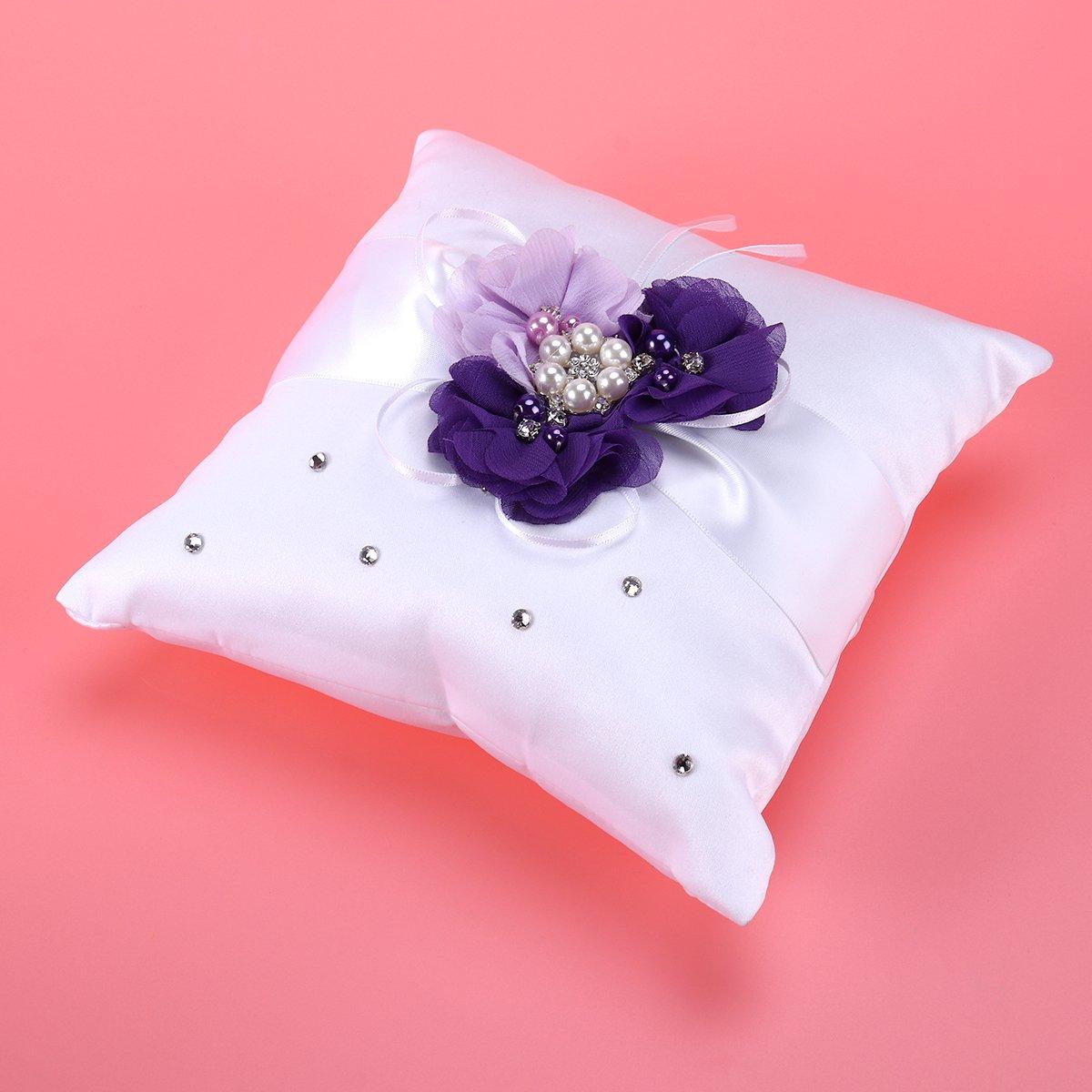 Buy Ring Bearer Pillow, 20*20cm Wedding Ring Pillow Pearl Flower ...