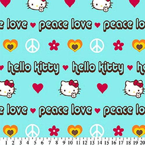 Hello Kitty Peace Aqua Fleece Fabric 209