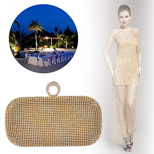 Hard Knuckles Purses Bagood 2 Square 5 Shining Case 7 in Rhinestones 1 Evening Clutches Gold Bag Shape 5 Women's pqq8APXwB