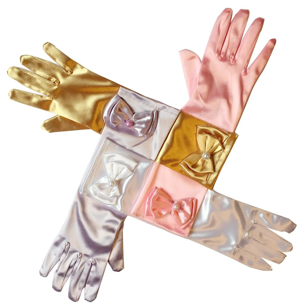 RQJ Girls Pearl Bowknot Colored-light Long Formal Full Finger Glove Princess Dress Gloves for Wedding Accessories and Party Cosplay