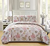 Mk Collection 3pc Bedspread coverlet quilted Seashells Beige Red # Seaside New (California King)