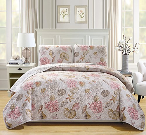 Mk Collection 3pc King Size Bedspread Coverlet Quilted Bedding Seashells Star Fish Coastal Beach Theme Sea Breeze Under The Sea Ocean Pink Beige Red # Seaside New (Theme Beach Sets King Bedding)