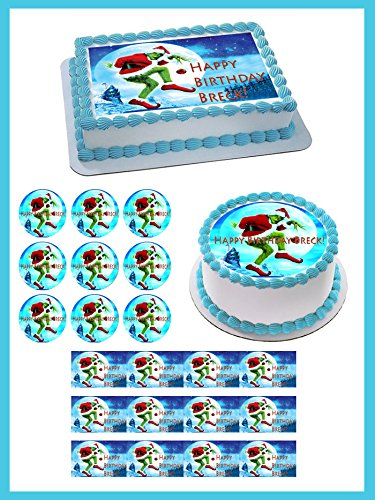"How the Grinch 2 Edible Cupcake Topper - 1.8"" cupcake (20/sheet)"