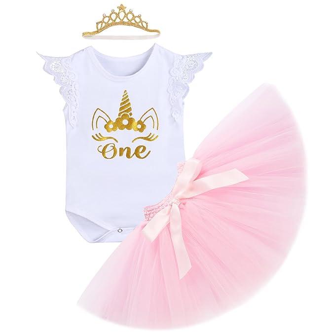 041bfd242aa8 OBEEII Baby Girl It's My First Birthday Unicorn Romper Tutu Skirt Headband  Outfits Unicorn Lace Sleeve