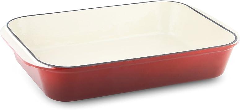 Fer forg/é Commichef provencale Professionnel en Fonte rectangulaire Plat /à r/ôtir Red 32 x 23cm