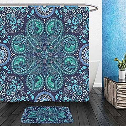 Vanfan Bathroom 2?Suits 1 Shower Curtains & ?1 Floor Mats blue indian seamless pattern fantasy ornamental wallpaper 340270370 From Bath - Madison Florals Wallpaper