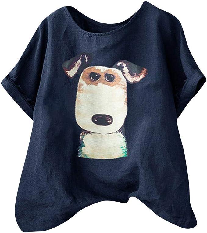 Image of TUDUZ Blusas Mujer Manga Corta Verano Camisas Camiseta de Algodón y Lino con Estampado de Perro de Dibujos Animados